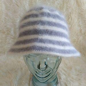 Cloche Hat Angora Striped